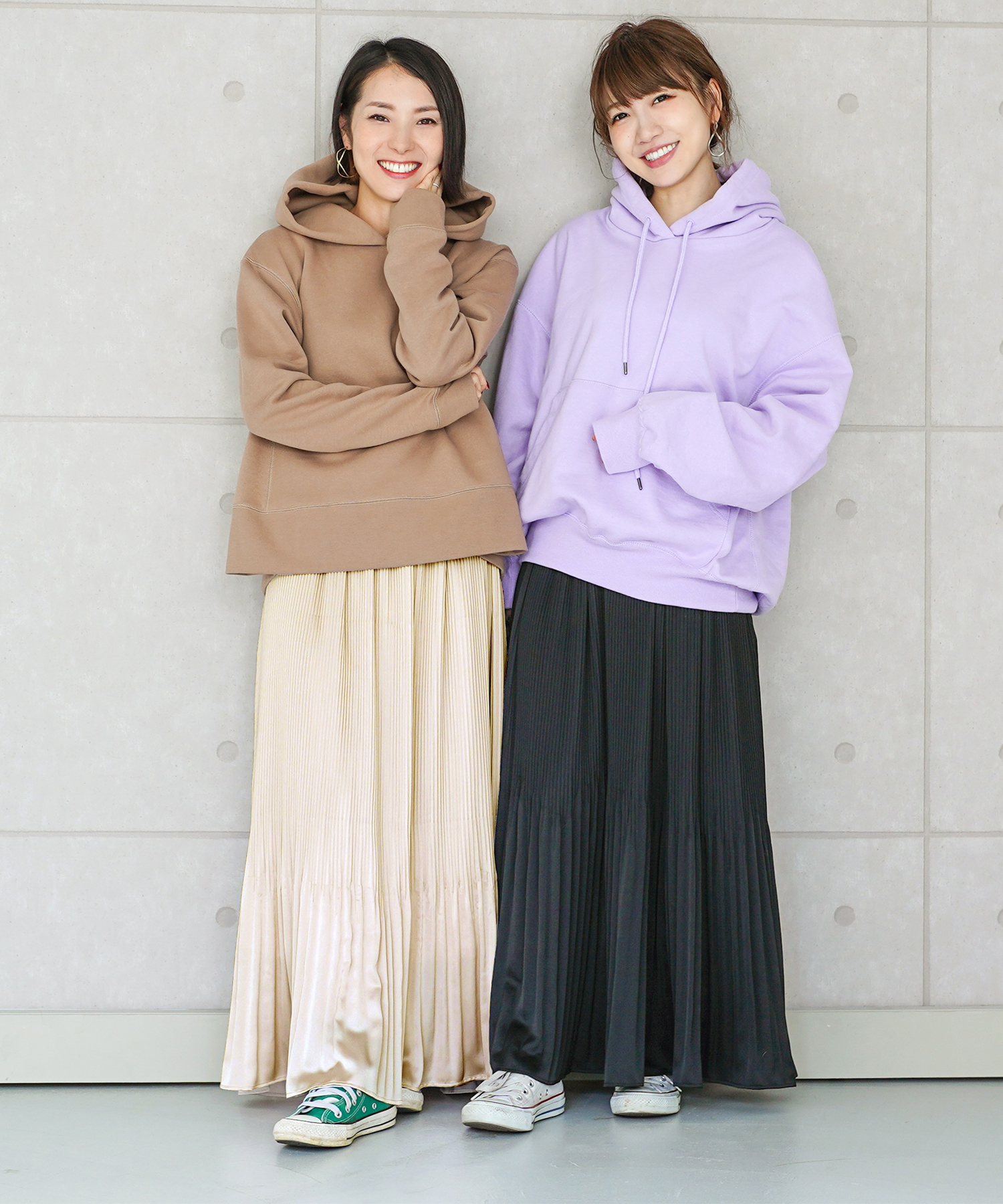 チュール × サテン プリーツ スカート