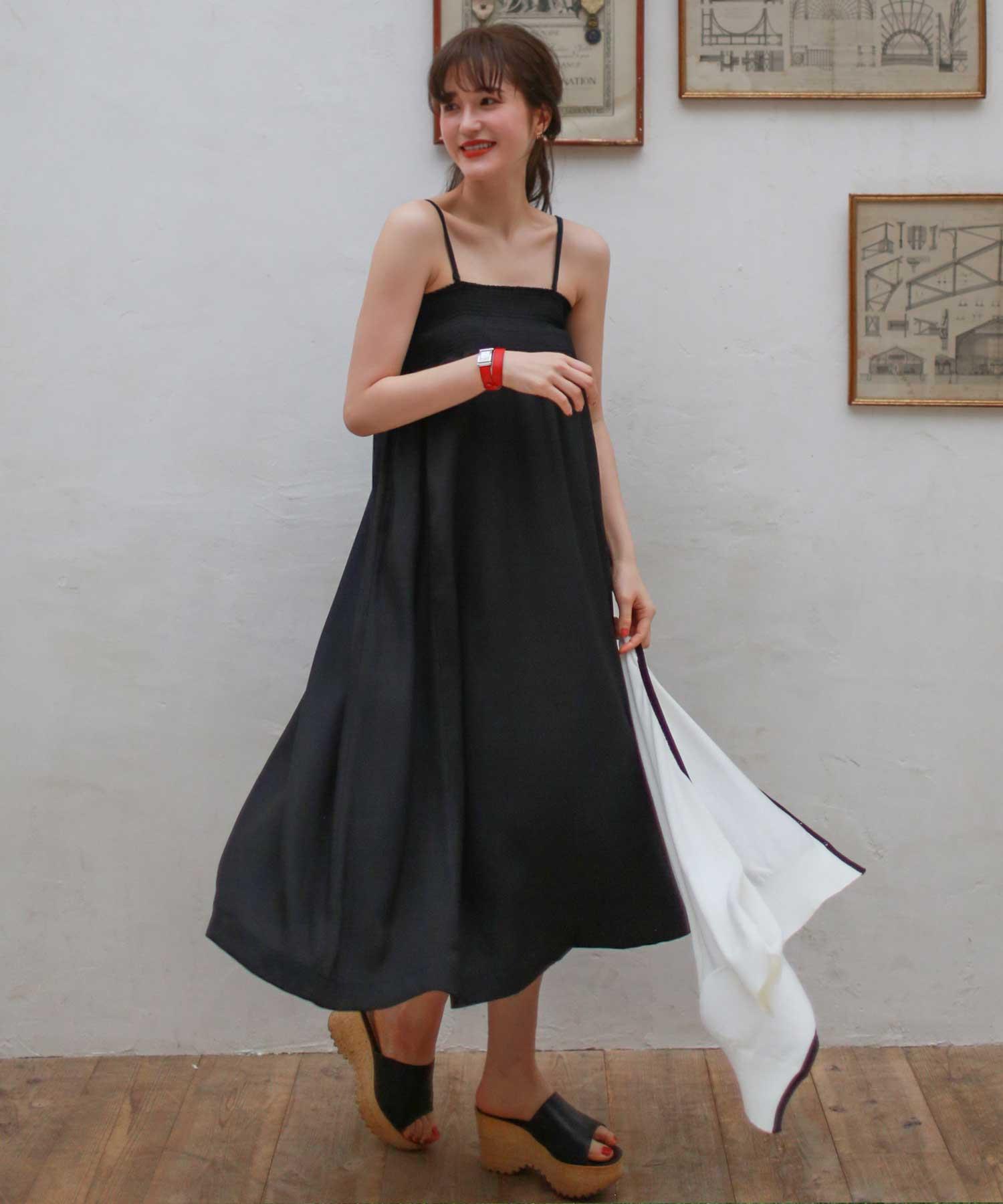 スカート ワンピース 2WAY シャーリング デザイン
