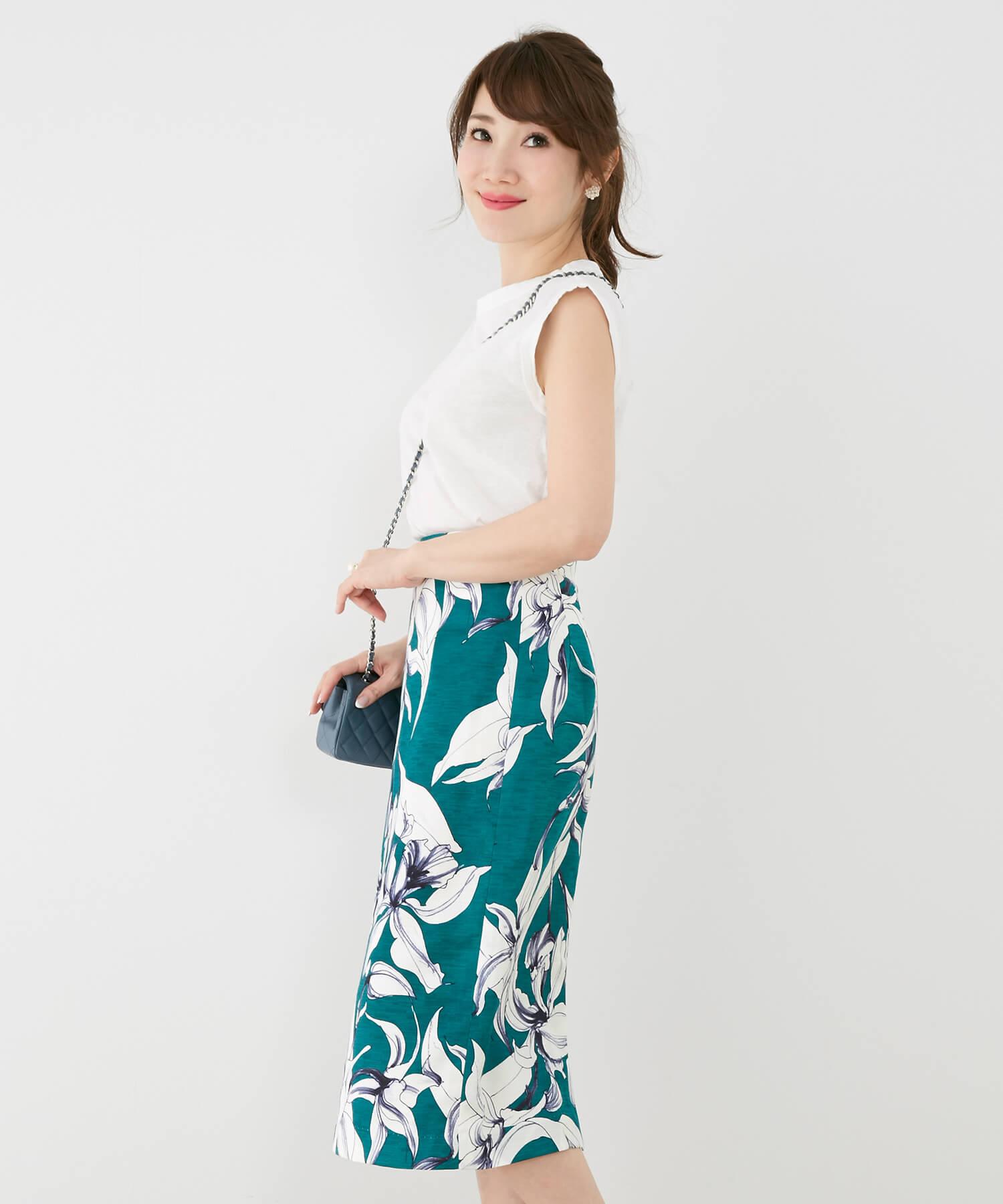 スカート 花柄 Iライン