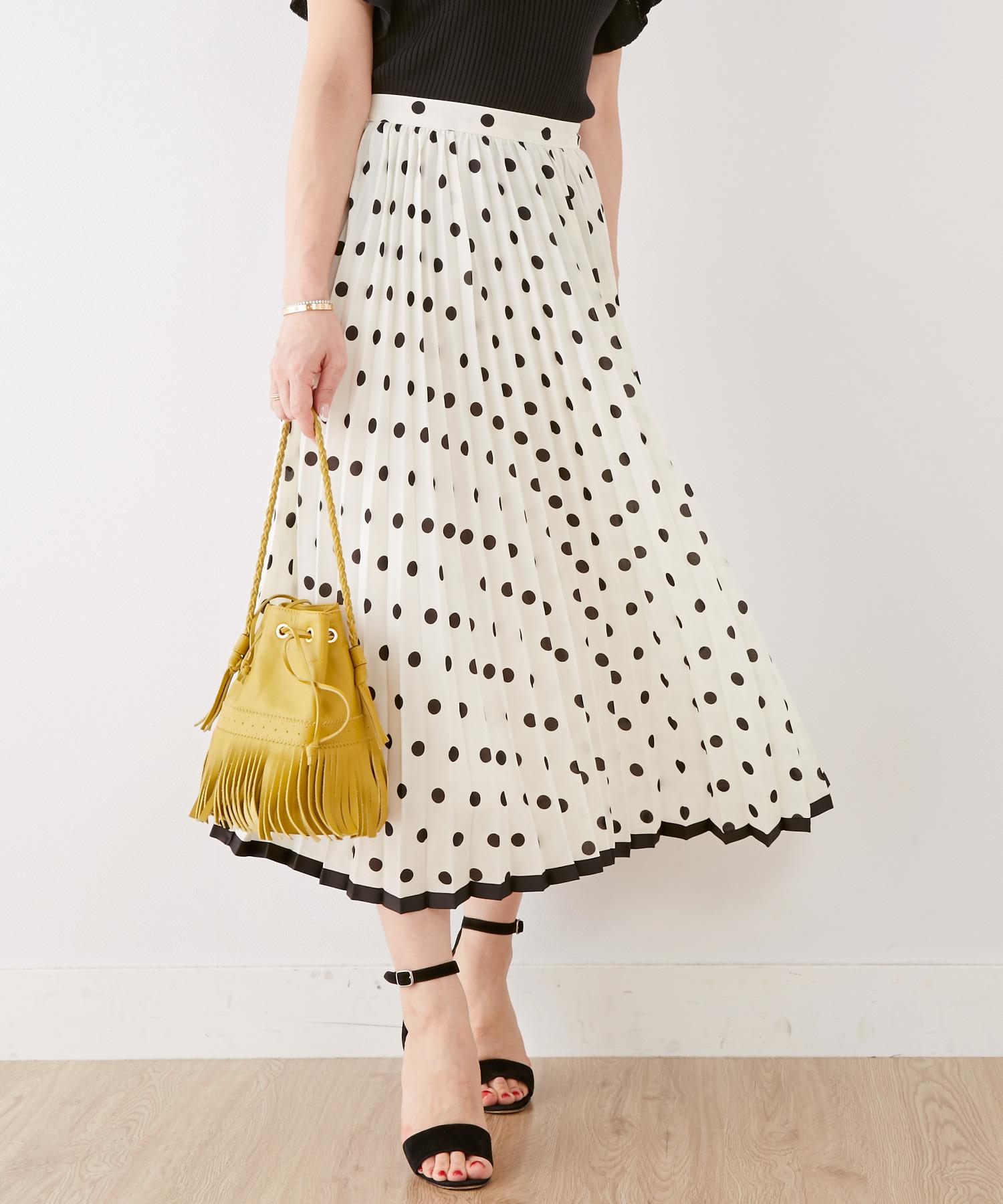 スカート ドット&プリーツ 裾グログラン