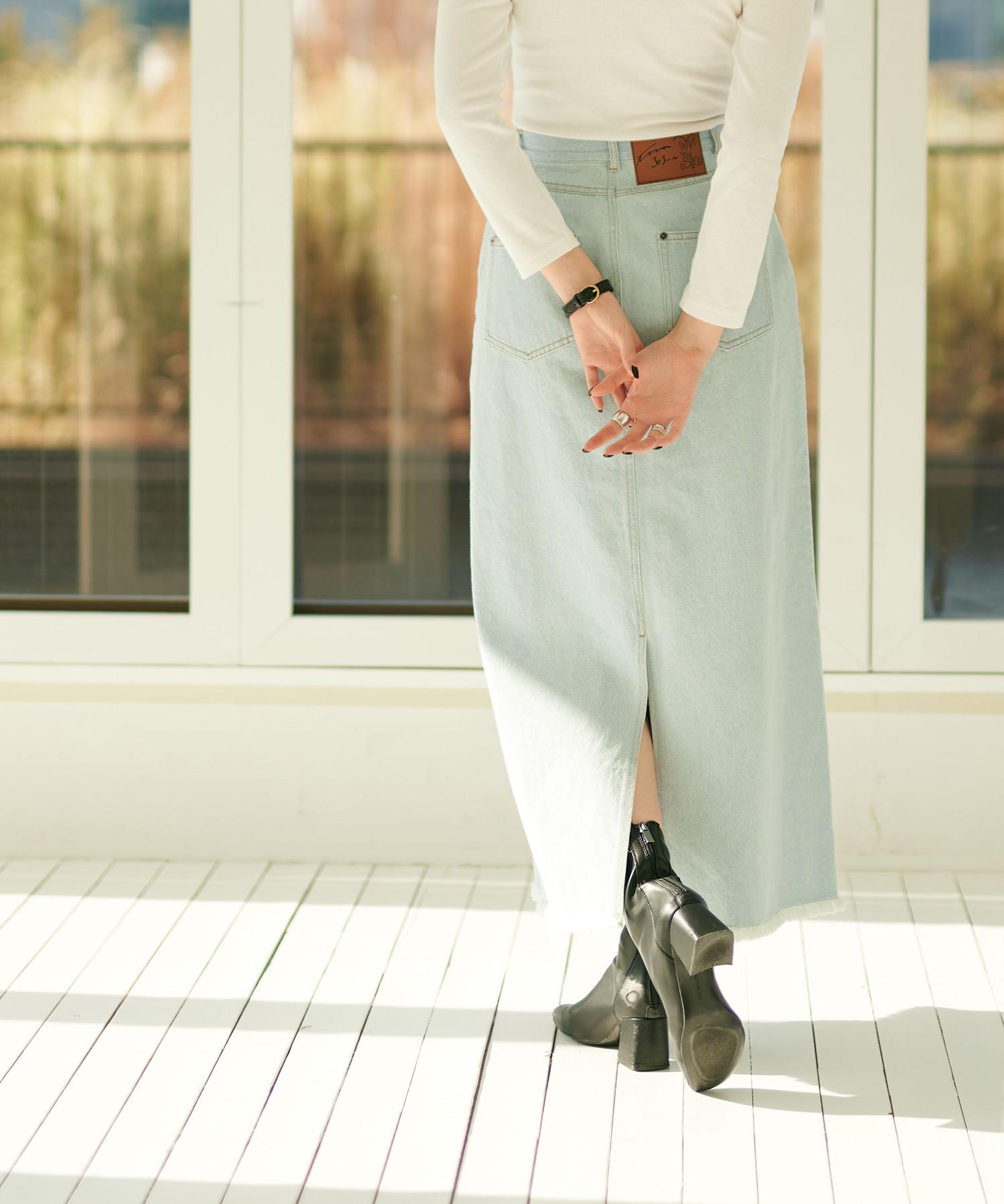 スカート 裾フリンジロングデニム