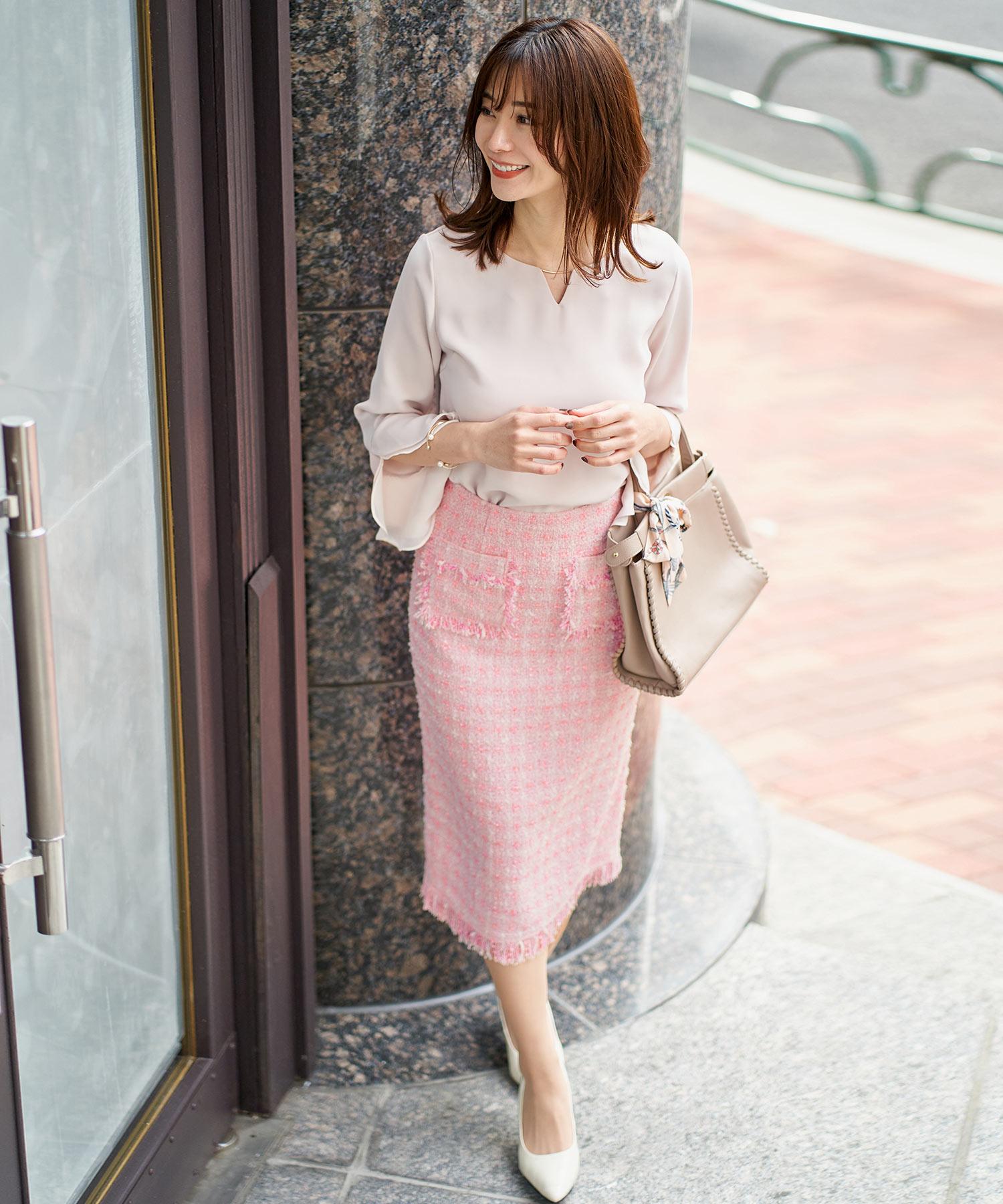スカート ツイード タイト Iライン ブラウス シフォン&フリル メタルバー付き 9分袖
