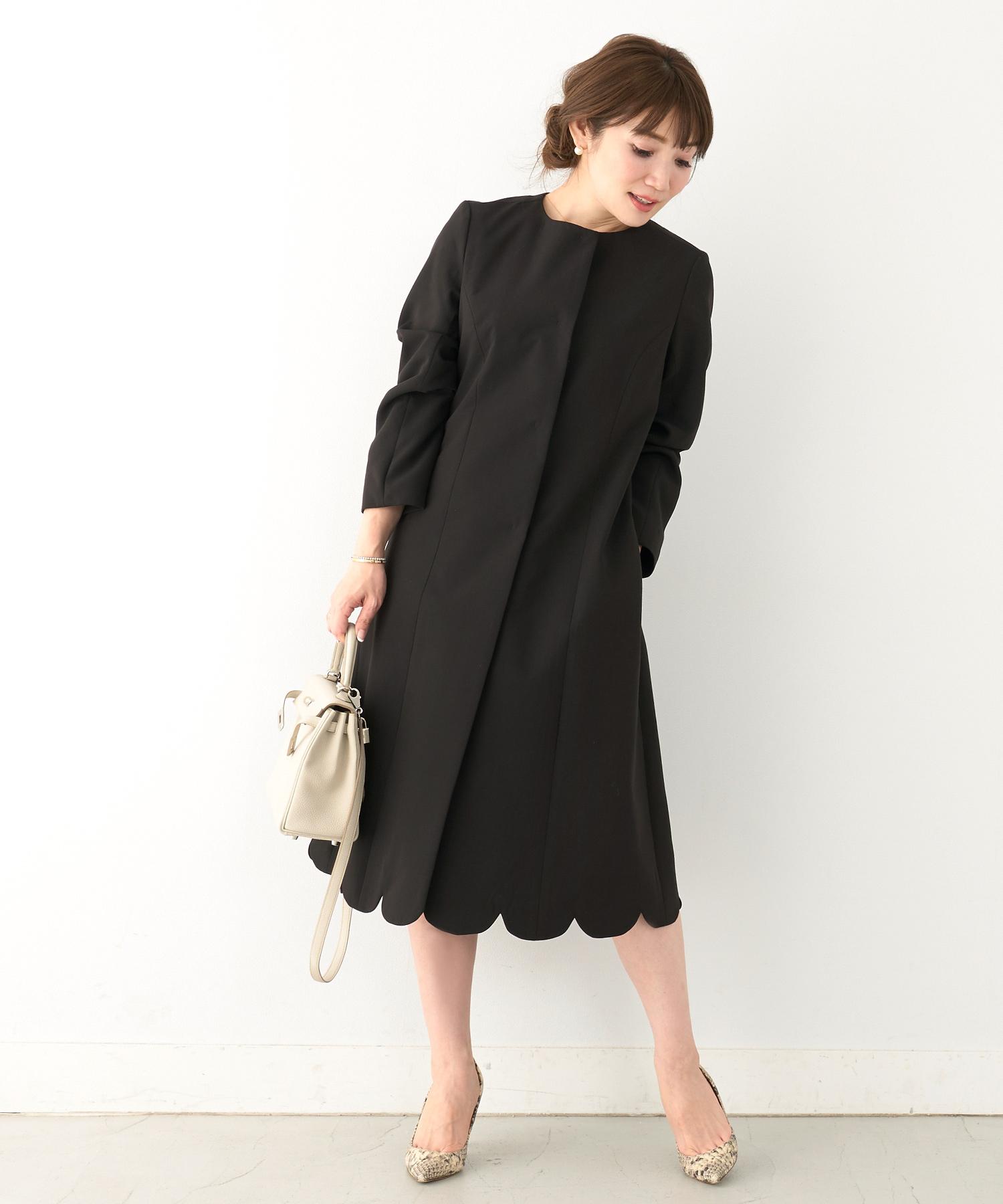 コート 裾スカラップ ロング