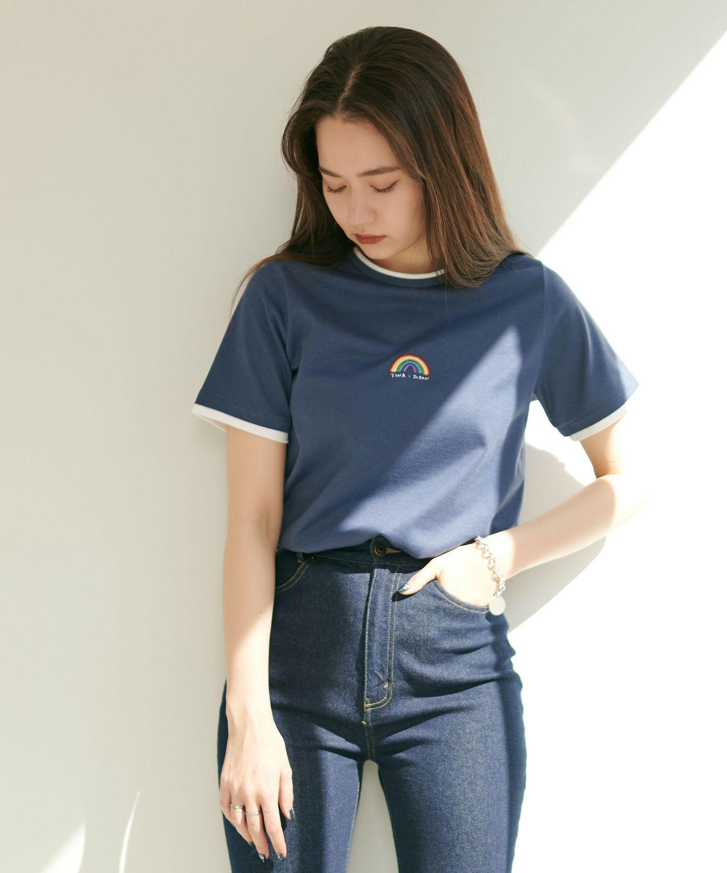 レインボー刺繍Tシャツ TINA:JOJUN