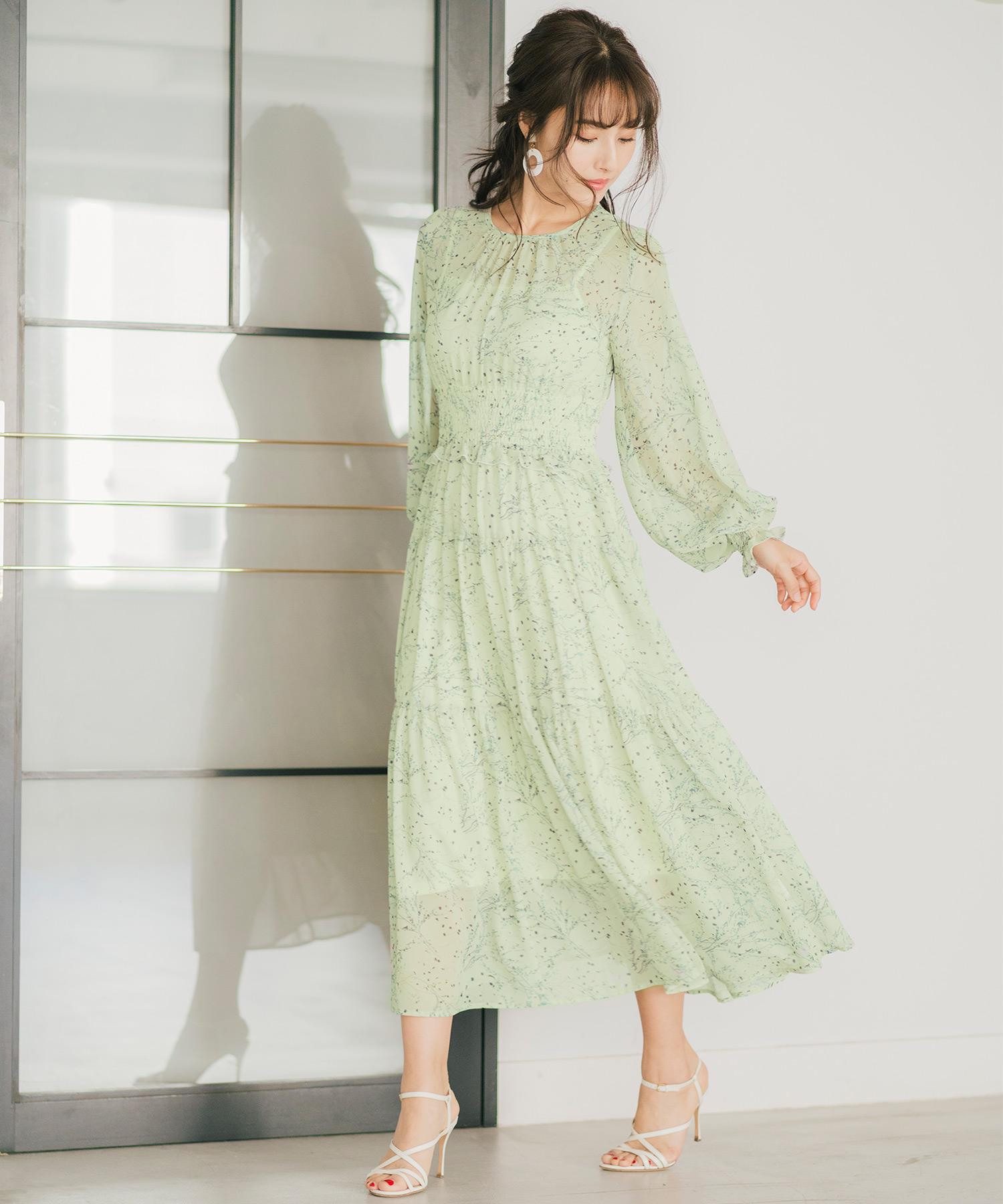 ロングワンピース シフォン シャーリング&ティアード FEERICHELU