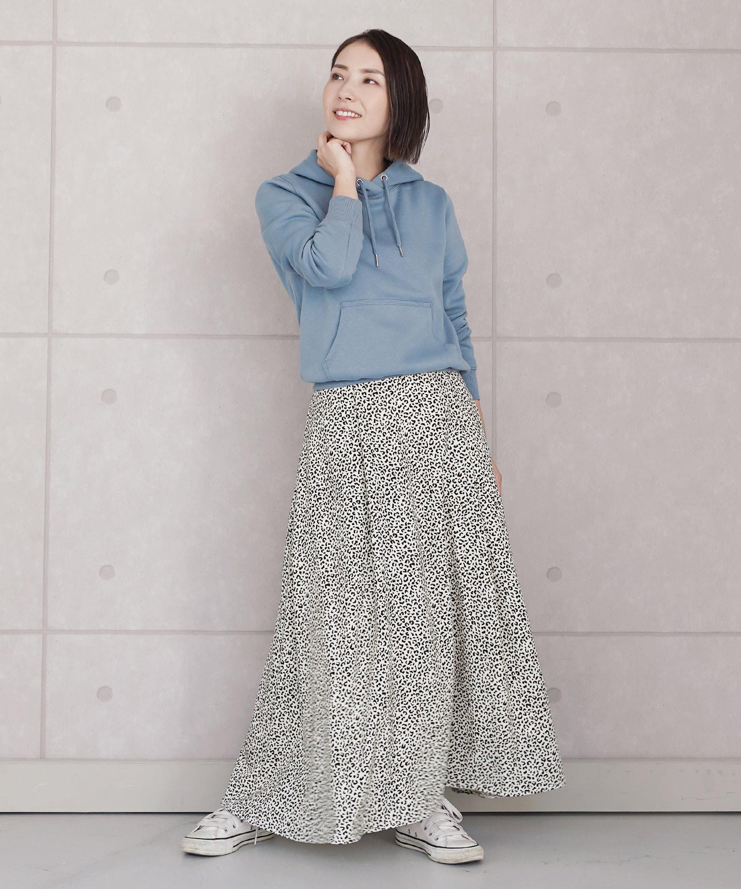スカート レオパード マキシ JS×momo.yokko