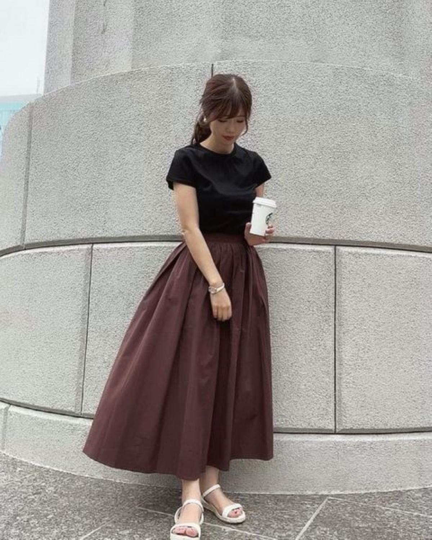 スカート タックフレア ギャザー ロング丈 Liala×PG